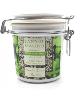 Sapone Marino Detergente Scrub Idratante Vaso 500 ml Profumo Muschio Bianco & Basilico