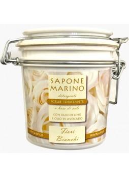 Sapone Marino Detergente Scrub Idratante Vaso 500 ml Profumo Fiori Bianchi