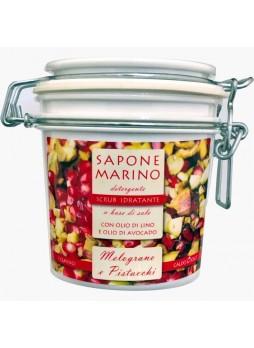 Sapone Marino Detergente Scrub Idratante Vaso 500 ml Profumo Melograno & Pistacchio