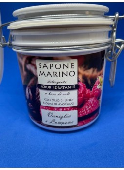 Sapone Marino Detergente Scrub Idratante Vaso 500 ml Profumo Vaniglia e Lampone