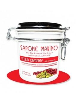Sapone Marino Detergente Scrub Idratante Vaso 500 ml Profumo Melograno & Pistacchi